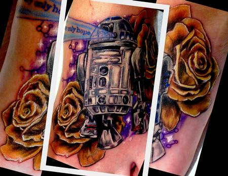 Tattoos - R2D2 foot tattoo with c3po roses - 76179