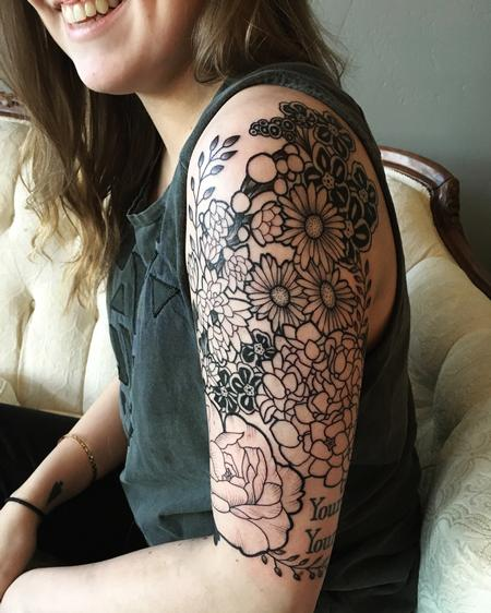 Bold Northwest Floral Sleeve Tattoo Design Thumbnail