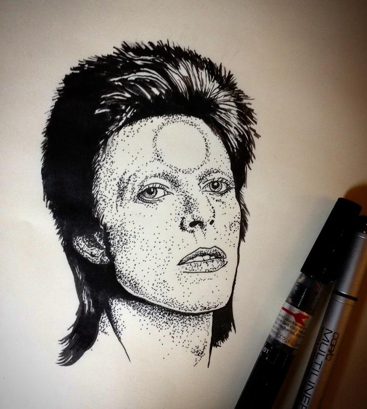 David bowie ink drawing by ben licata tattoonow for Bowie tattoo ideas