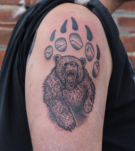 Tattoos - Bear in bear paw tattoo on shoulder - 132859