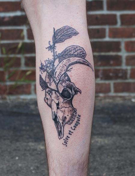 Tattoos - Black Goat Skull with Witch Hazel Tattoo on Calf - 130449