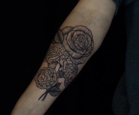 Tattoos - Black Rose and Carnation Tattoo on Forearm - 132097