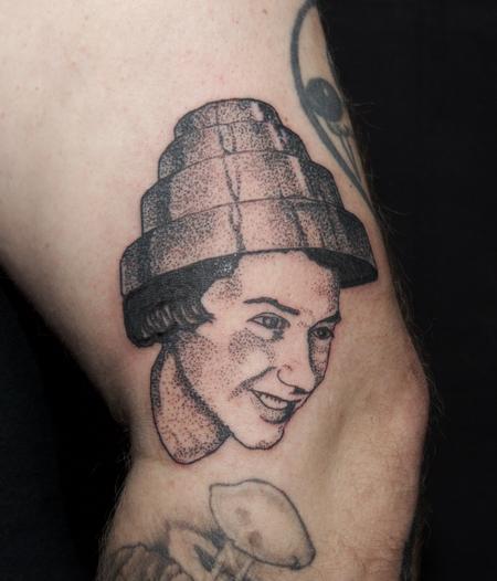 Devo Fan Stippled Portrait Tattoo Design Thumbnail