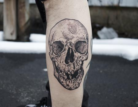 Tattoos - Dot work Skull Tattoo - 123665