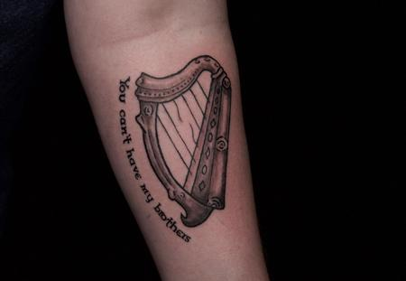 Ben Licata - Memorial Harp Tattoo