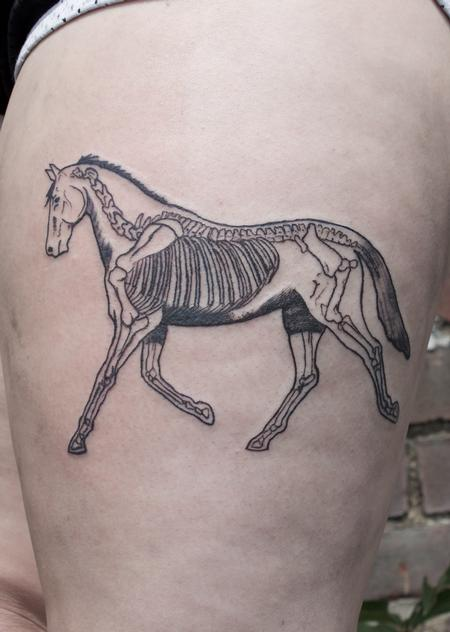 Ben Licata - black Illustrative horse tattoo on thigh