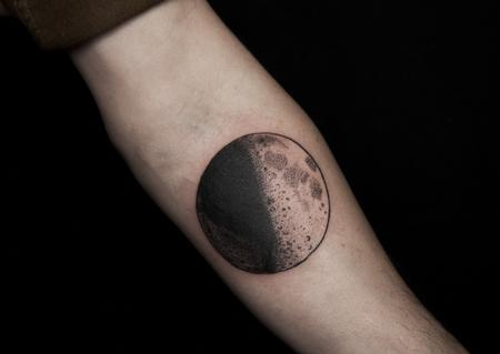 Dotwork Moon Tattoo on forearm Design Thumbnail