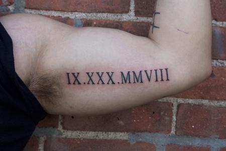 Tattoos - Roman Numeral tattoo on bicep - 128625