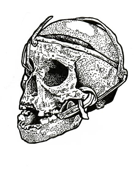 Tattoos - Skull with rope ink drawing - 125313