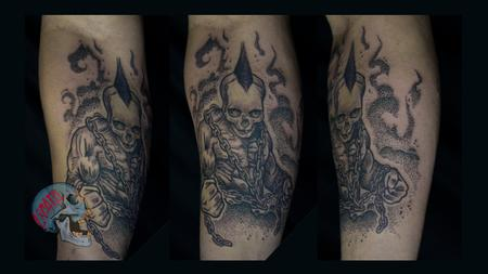 Skull headed muscle dude with chains tattoo on forearm  Design Thumbnail