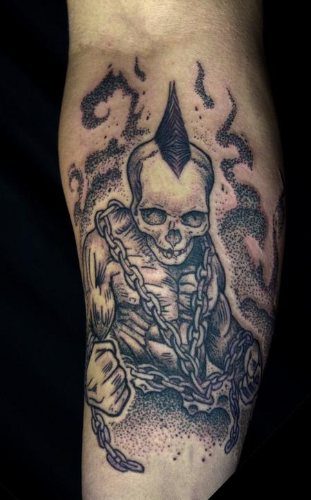 Tattoos - Skull headed muscle dude with chains tattoo on forearm  - 132167