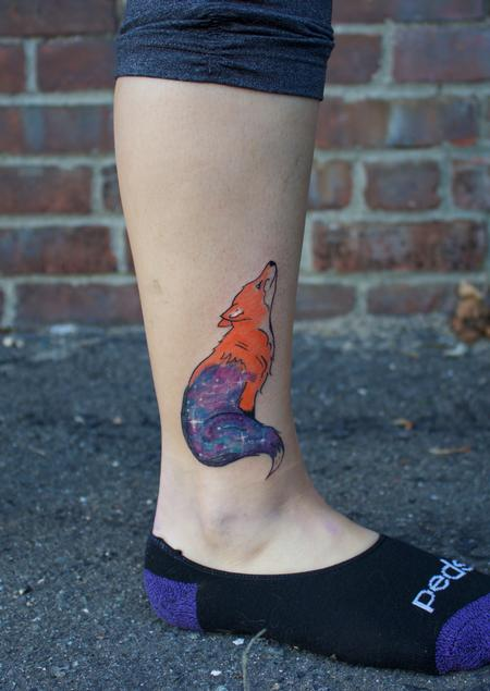 Small Color Fox Galaxy Coverup Tattoo Design Thumbnail