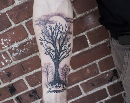 Tattoos - Black Stippled Tree on Forearm - 127724