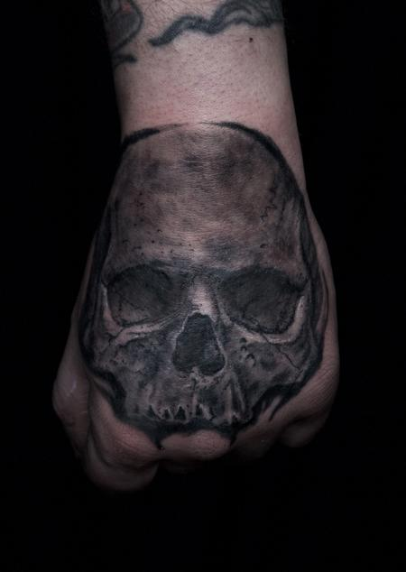 Tattoos - Black and Grey Tattoo Skull on Hand - 126854