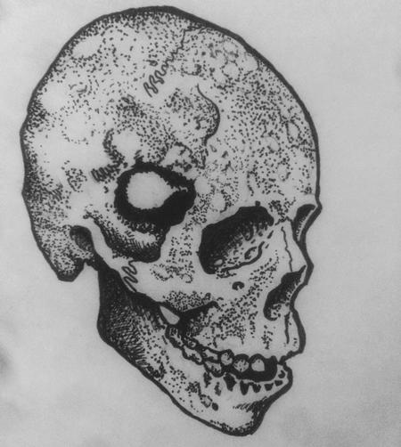 Tattoos - Skull with hole, sketch - 116682