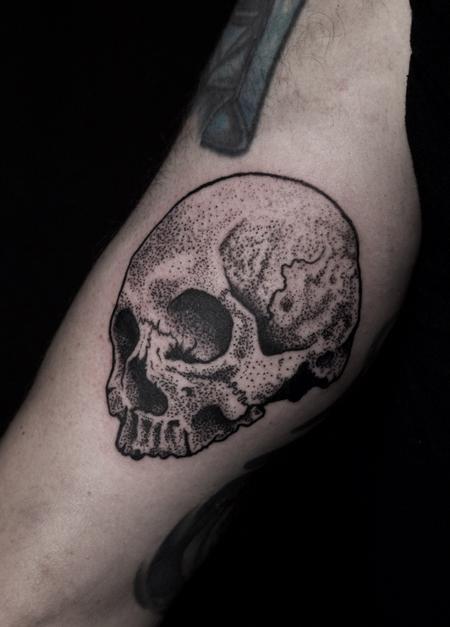 Stippled skull tattoo Tattoo Design Thumbnail