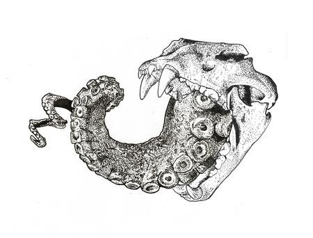 Tattoos - Lion skull with octopus tentacle ink drawing - 129202