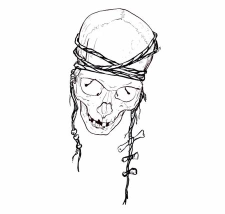 Ben Licata - Skull with rope and bones drawing