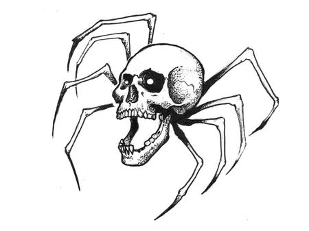 Tattoos - Creepy Spider Skull Tattoo Design - 121951