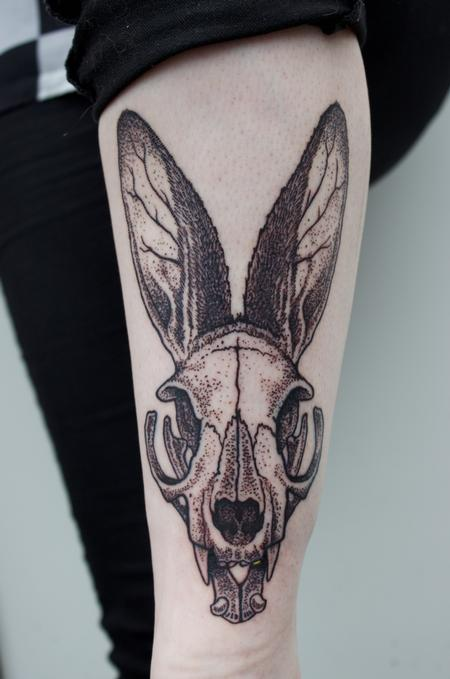 Stippled illustrative dotwork cat skull with rabbit ears tattoo Design Thumbnail