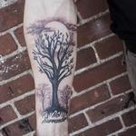 Black Stippled Tree on Forearm Tattoo Design Thumbnail