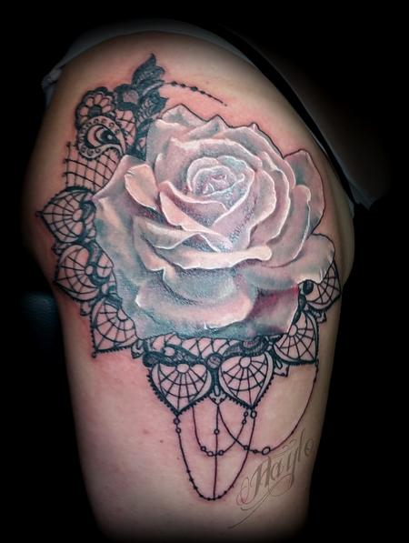 Tattoos - Soft Pink Rose with Lace arm piece - 125207