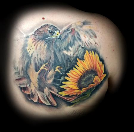 Tattoos - Golden Eagle with sunflower Realistic style back piece - 119715