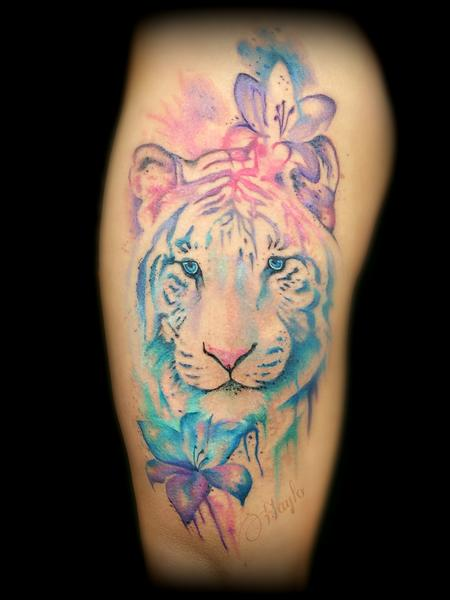 Tattoos - Watercolor style Tiger face with lilies - 119722