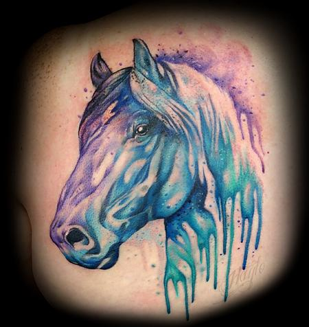 Tattoos - Custom Watercolor style Horse - 125209