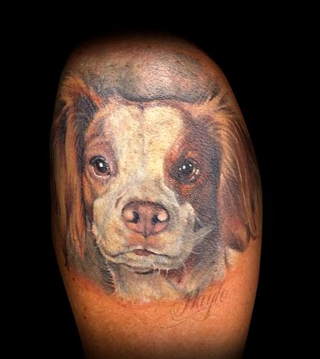 Tattoos - Brittany Spaniel Dog Portrait  - 125210