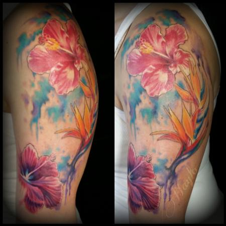 Tattoos - Watercolor style with realism floral - 100226