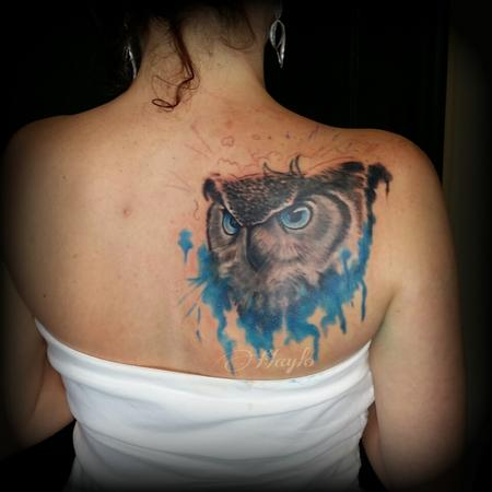 Tattoos - Realism owl cover up with watercolor style accents. - 100227