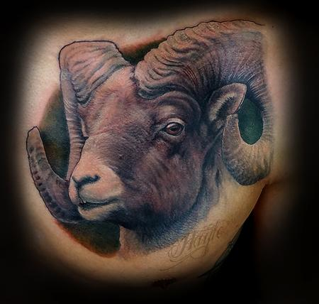Tattoos - Realistic Big Horn Sheep chest piece - 125213