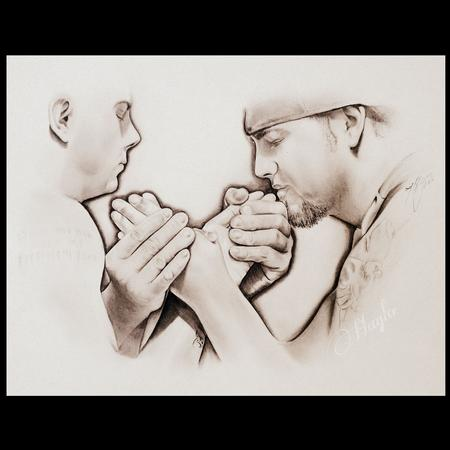 Tattoos - Pencil Graphite drawing of two arm wrestlers, Scott Warren vs AJ Warren  - 100236