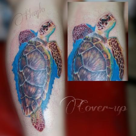 Tattoos - Realistic Turtle cover up - 100232