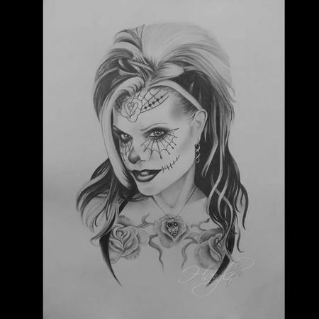 Tattoos - Seld Portrait of Tattoo Artist Haylo in pencil graphite as a