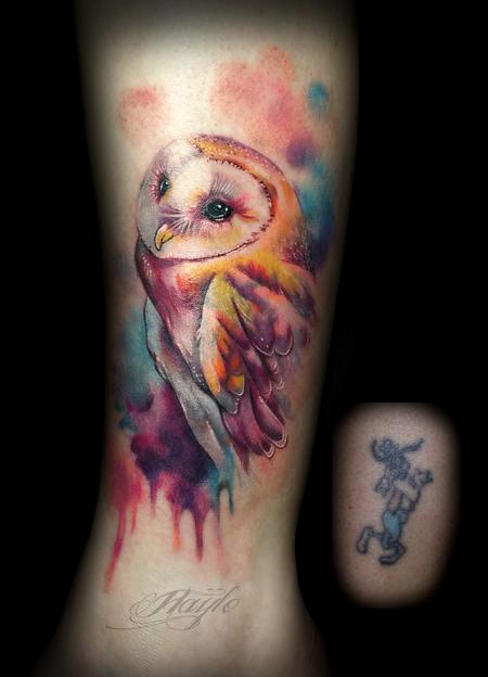 Tattoos - Watercolor style owl cover up  - 119362