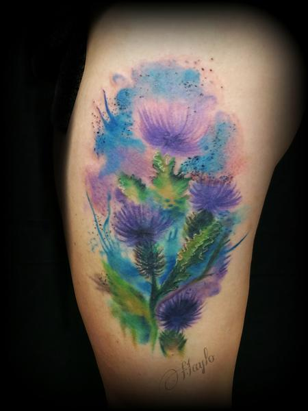 Haylo - Watercolor style thistle thigh piece