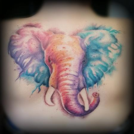 Watercolor Style Elephant Back piece Design Thumbnail
