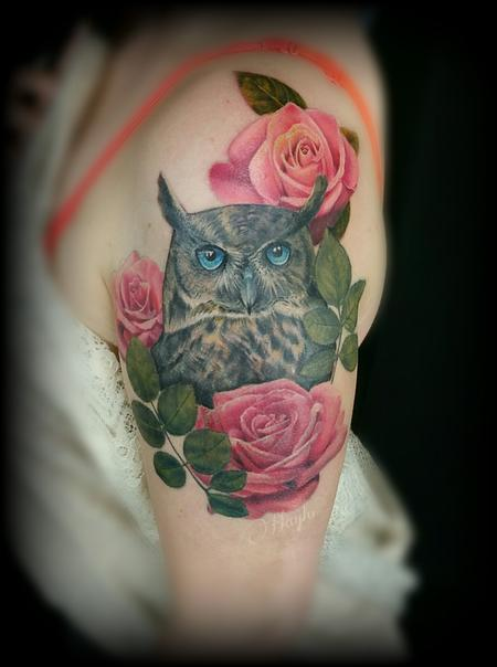 Realistic color owl with roses half sleeve custom piece Tattoo Design Thumbnail