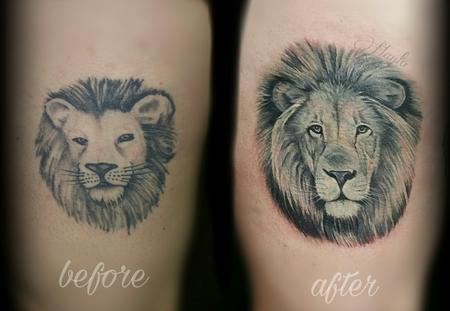 Realistic Black and Gray lion cover up  Tattoo Design Thumbnail