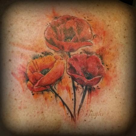 Tattoos - Poppies in Watercolor - 102398