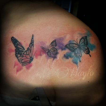Tattoos - Butterflies with Watercolor accents - 102399