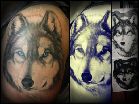Tattoos - Realistic style black and gray wolf half sleeve tattoo with blue eyes - 109132
