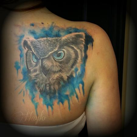 Haylo - Cover up of Realistic Owl face with watercolor
