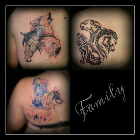 Tattoos - collaborative of 3 different animals in 3 different styles - 109135