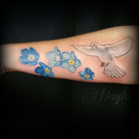Tattoos - Realistic Dove with forget me not flowers - 103894