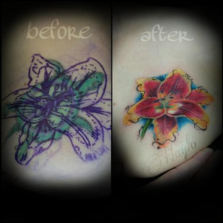 Tattoos - Aged turtle tattoo cover up with watercolor and realist style lily - 109133
