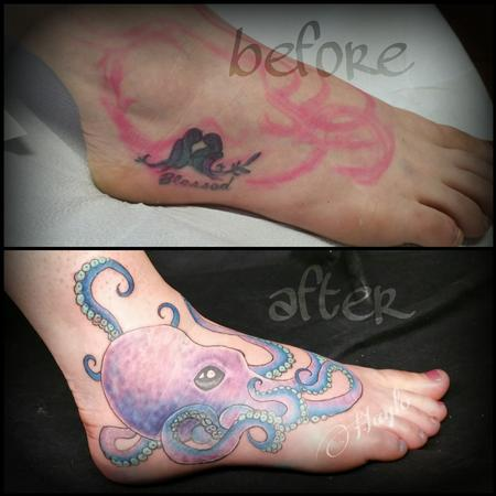 Tattoos - Foot cover up with colorful custom octopus  - 109134