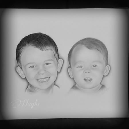 Haylo - Realistic drawn portraits of two young boys. Medium: Graphite